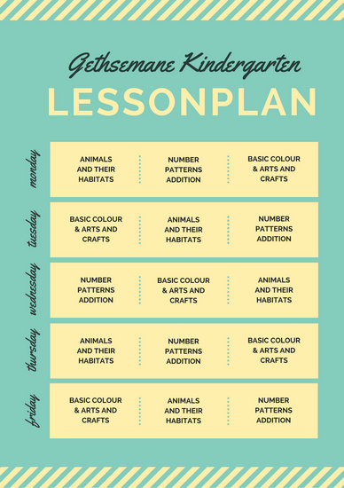 Teal and Yellow Kindergarten Lesson Plan - Templates by Canva