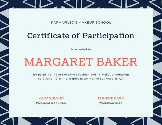 Blue and Coral Triangle Pattern Participation Certificate - design of certificate of participation