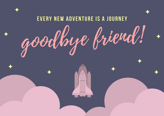 Free Friendship Quotes Wallpapers Purple Space Rocket Icon Farewell Card Templates By Canva