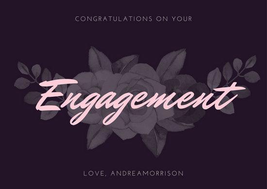 Purple And Pink Flower Illustration Engagement Card Free Template - engagement card template