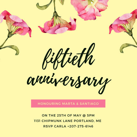 Customize 1,799+ 50th Anniversary Invitation templates online - Canva - anniversary invitation template