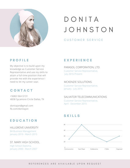 Misty Rose Lines Customer Service Resume - Templates by Canva