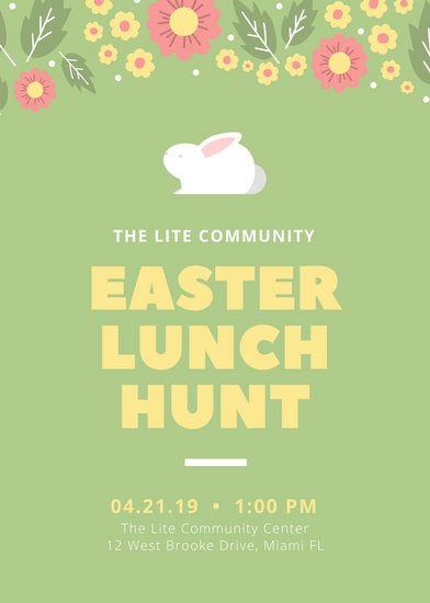 Green Bunny Illustrated Easter Flyer - Templates by Canva