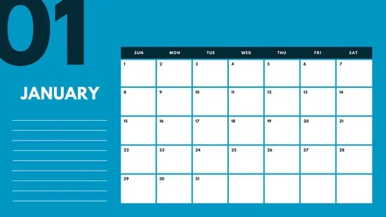 Blue and Pink Monthly Calendar - Templates by Canva - caeldnar