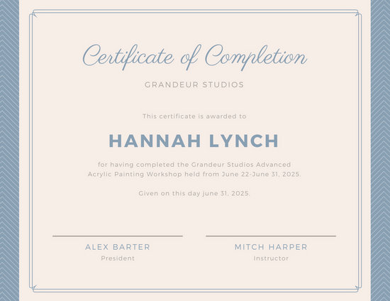 Certificates of completion templates kicksneakers customize 265 completion certificate templates online canva yelopaper Choice Image