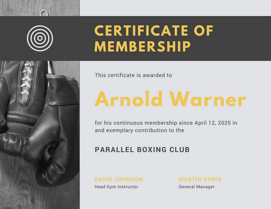 Black and Yellow Boxing Sports Membership Certificate - Templates by - membership certificate templates