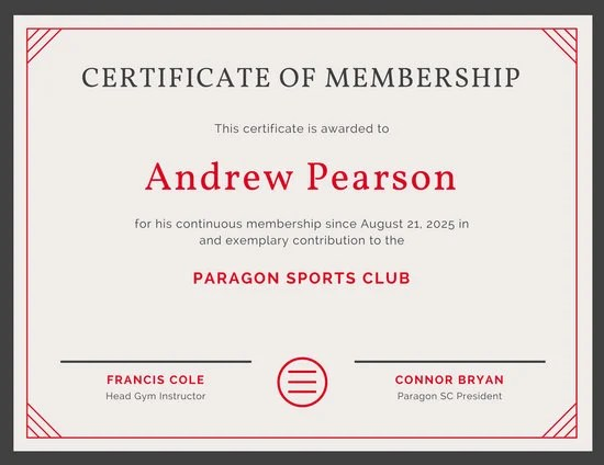 Red Line Border Sports Membership Certificate - Templates by Canva - membership certificate templates