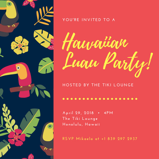 Colourful Tropical Pattern Hawaiian Party Invitation - Templates by