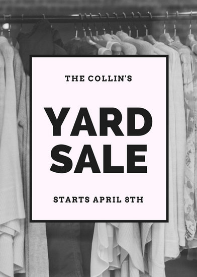 Black and White Image Yard Sale Yard Garage Flyer - Templates by Canva - black and white flyer template