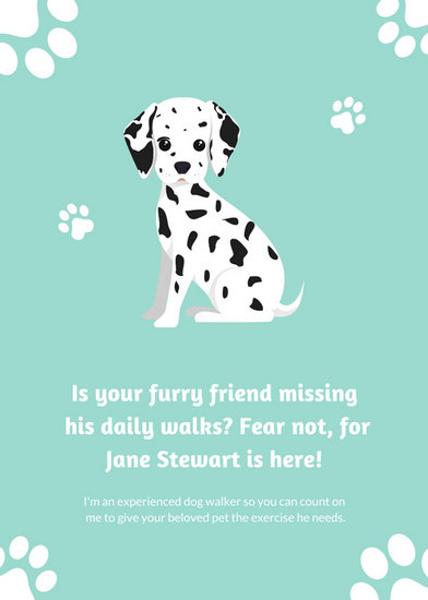 Light Blue Dalmatian Dog Walker Flyer - Templates by Canva