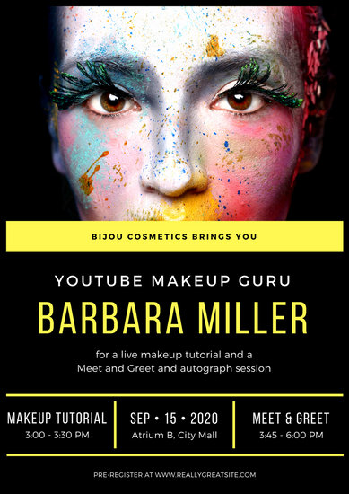black and yellow modern beauty makeup poster