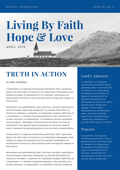 Blue Photo Church Newsletter - Templates by Canva - church newsletter