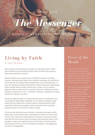 Brown Photo Church Newsletter - Templates by Canva - church newsletter