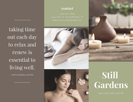 Green and Brown Modern Spa Trifold Brochure - Templates by Canva