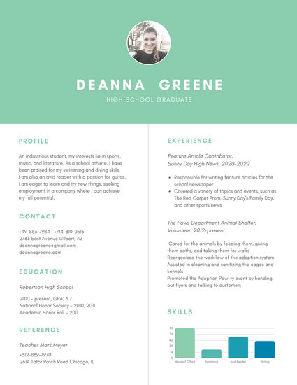 Customize 377+ High School Resume templates online - Canva