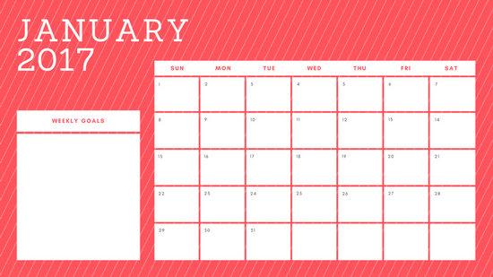 Rainbow Stripes Weekly Calendar - Templates by Canva