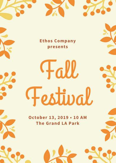 Cream and Orange Foliage Border Fall Festival Flyer - Templates by Canva - fall flyer