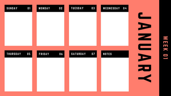 Colorful Bright Bold Weekly Calendar - Templates by Canva