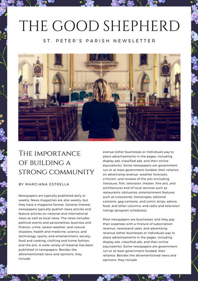 Violet Floral Watercolor Church Newsletter - Templates by Canva - church newsletter