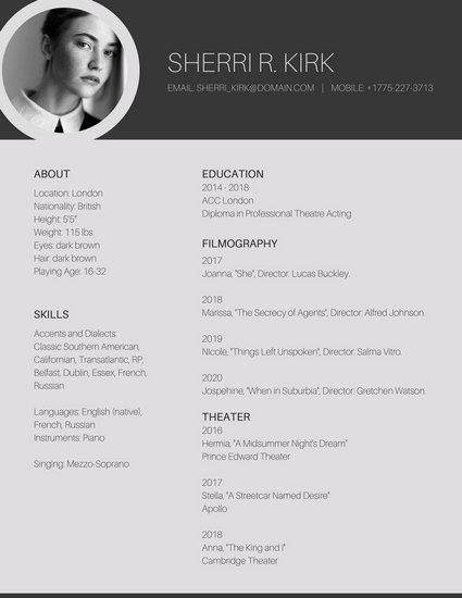 Grey Minimal Photo Acting Resume - Templates by Canva - acting resume