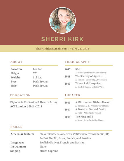 Brown Header Acting Resume - Templates by Canva - acting resume template 2016