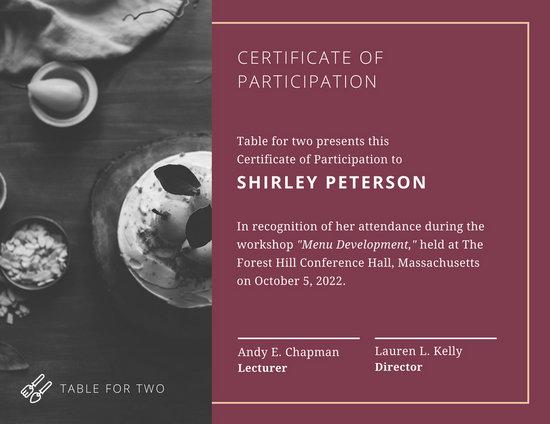 certificate of participation in seminar