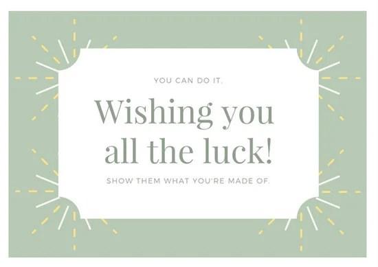 Pastel Green Cute Goodluck Card - Templates by Canva - good luck card template
