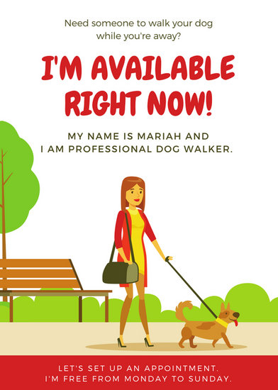 Red Park Landscape Dog Walker Flyer - Templates by Canva