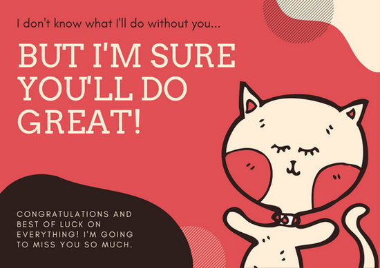 Red Illustrated Cat Farewell Card - Templates by Canva