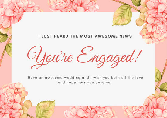 Pink and Cream Floral Watercolor Illustration Engagement Card - engagement card template
