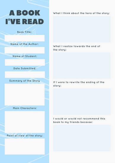 Blue Elementary School Book Report - Templates by Canva