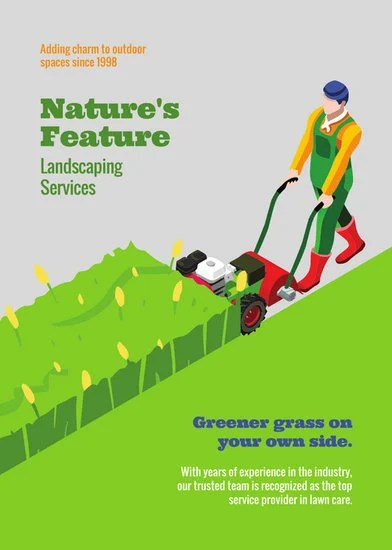 Green Illustrated Lawn Care Flyer - Templates by Canva