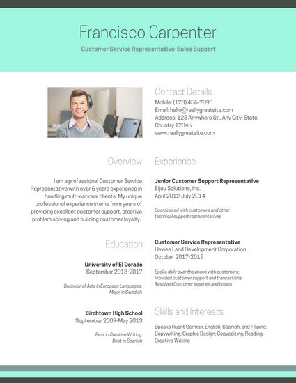 Simple Turqoise Customer Service Resume - Templates by Canva - customer service on resume