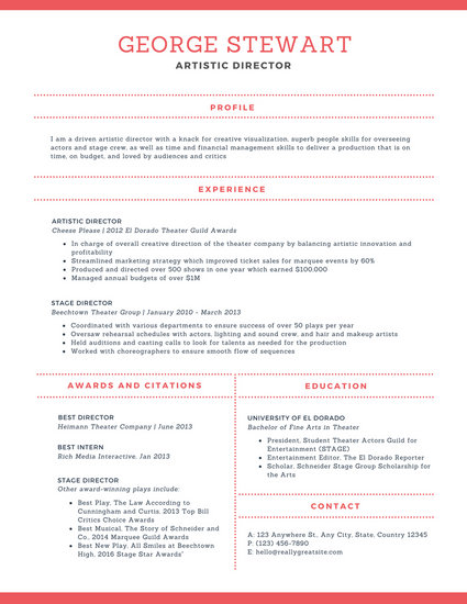 Cream and Red Modern Theatre Resume - Templates by Canva