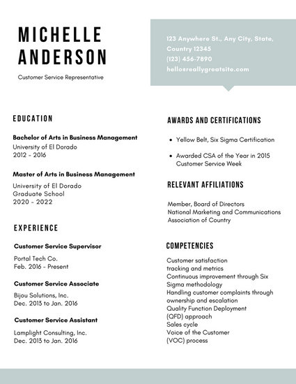 White Simple Customer Service Resume - Templates by Canva - Customer Representative Resume