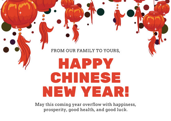 White and Red Lanterns Chinese New Year Card - Templates by Canva