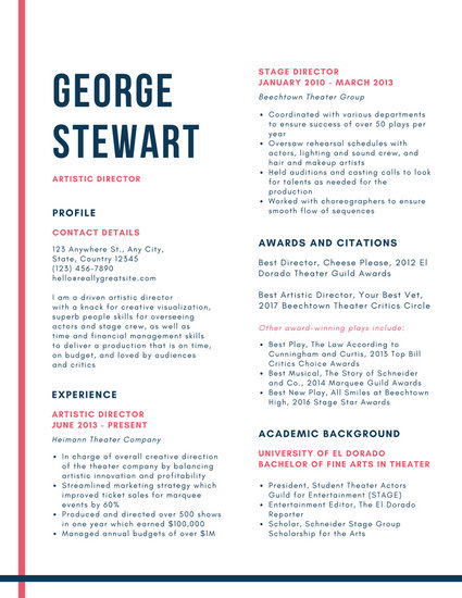 White with Lines Theatre Resume - Templates by Canva