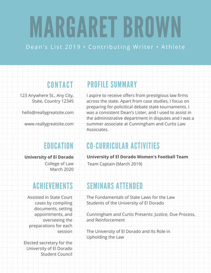 Blue with White Checkered Scholarship Resume - Templates by Canva