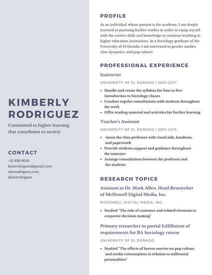 Gray and Purple Simple Research Resume - Templates by Canva