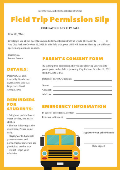 Yellow and White Field Trip Permission Slip Letter - Templates by Canva