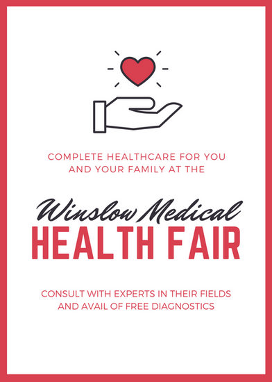 Red and Black Hearts Health Fair Flyer - Templates by Canva