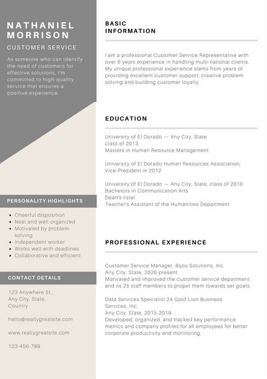 Grey Minimal Customer Service Resume - Templates by Canva