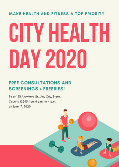 Colorful Illustrated Health Fair Flyer - Templates by Canva