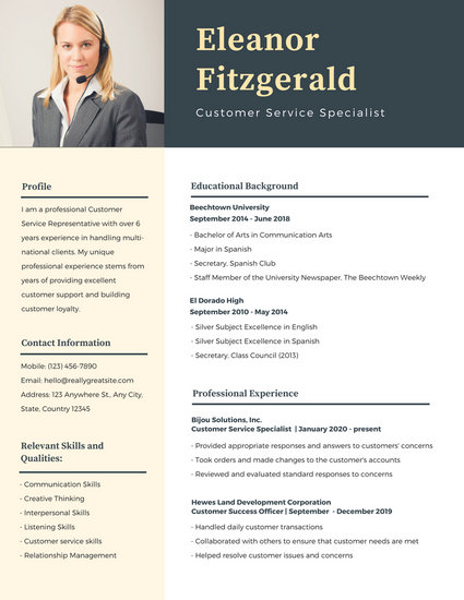 resume templates with pictures