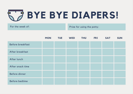 White and Blue Diaper Potty Training Reward Chart - Templates by Canva - potty training chart