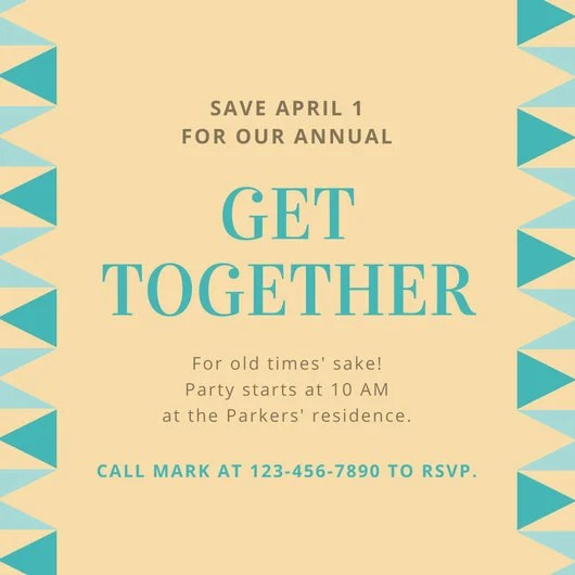 Beige and Teal Triangles Get Together Invitation - Templates by Canva - get together invitation template