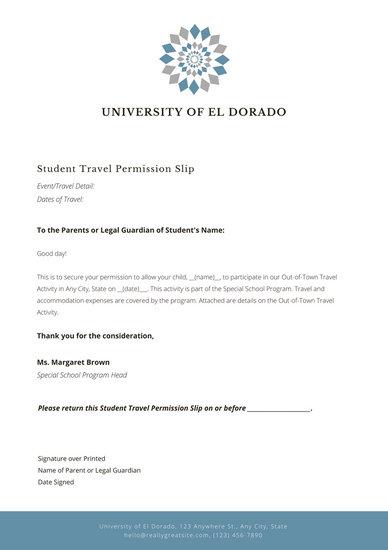 Permission Slip Template Customize 25 Permission Slip Letter