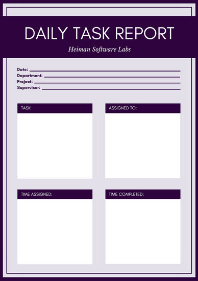 Violet and White Bordered Simple Blank Daily Task Report - Templates - daily task template