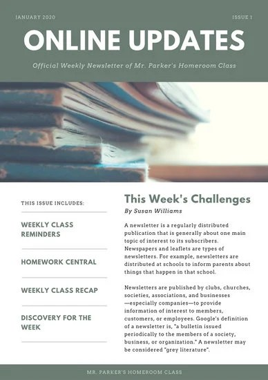 Green Simple Classroom Newsletter - Templates by Canva