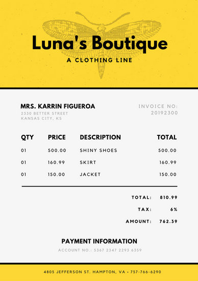 Yellow and White Vintage Illustration Grungy Commercial Invoice